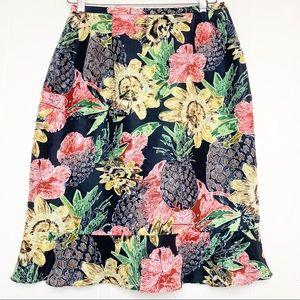 Harve Bernard silk black sunflower pineapple print